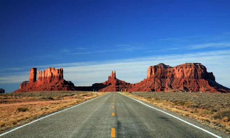 Driving into Monument Valley