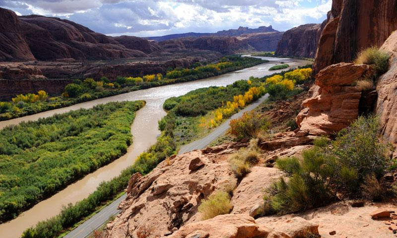 View of the Colorado River from the Portal Trail in Moab Utah