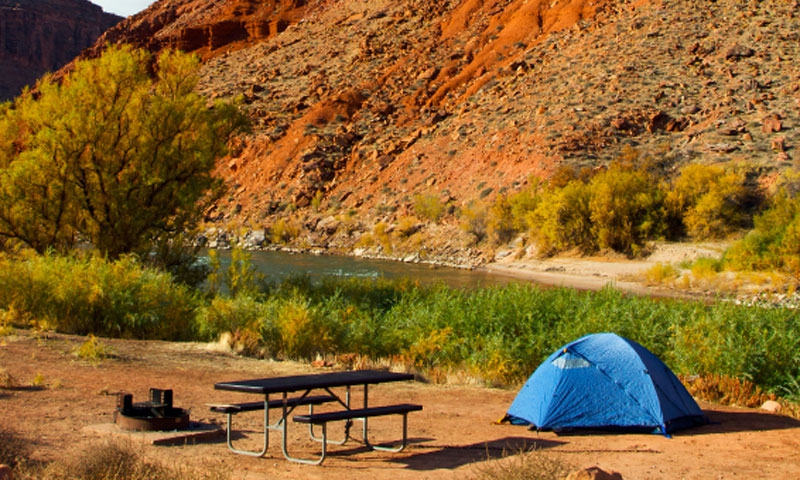 Camping along the Colorado River in Moab