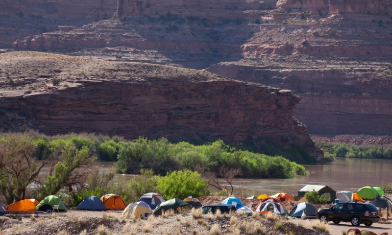 Camping along the Colorado River in Moab Utah