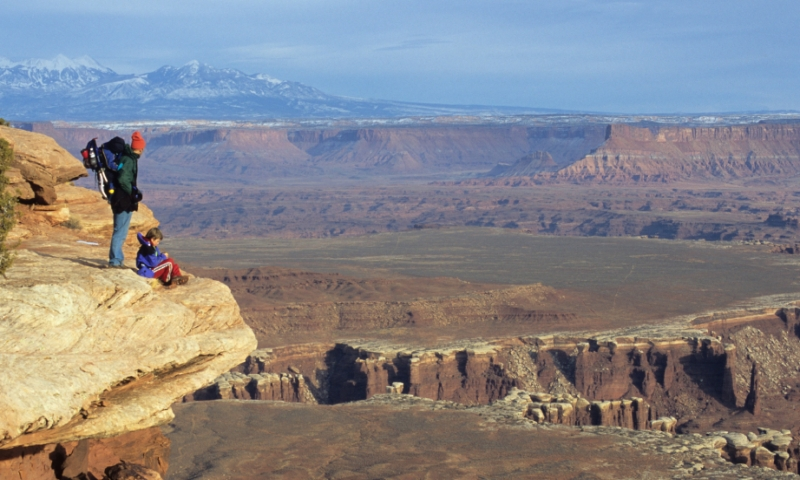 Father and Son along the Grand View Trail in Islands in the Sky district of Canyonlands
